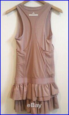 Adidas by Stella McCartney Tennis Court Gym Mesh Ruffle Mini Dress Dusty Pink XS