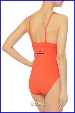 Adidas by Stella McCartney Women's Papaya Zip Swimsuit One-Piece Swimwear Size L
