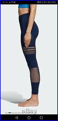 BNWT Women ADIDAS Stella McCartney Leggings Yoga Gym S Cutout Blue Sexy Warpknit