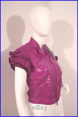 Rare STELLA McCARTNEY Adidas RUFFLE Purple CROP Sport JACKET VIOLET Yoga XS