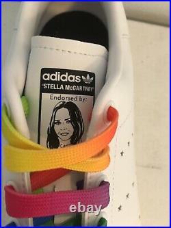 Stella McCartney Adidas Stan Smith Sneakers Rainbow White Womens 8 New FREE SHIP