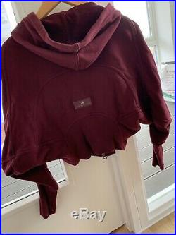 Stella Mccartney Adidas Studio Crop Batwing Hoodie Maroon Alo Koral Yoga Gym Xxs