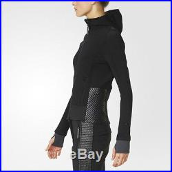 Women Adidas AX6955 Stella McCartney climaheat fleece hoodie FZ jacket black